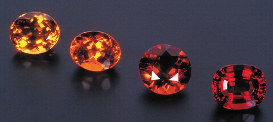 Citrine color suite, 9.73 cts, 9.62 cts, 9.17 cts, 11.02 cts (left to right)